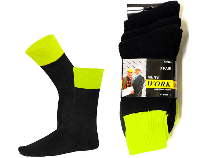 High Visibility Work Socks 3pk