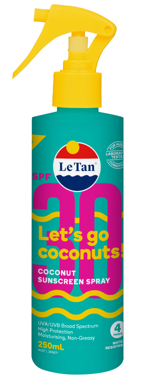 LE TAN 250mL SUNSCREEN LETS GO COCONUTS SPF30+