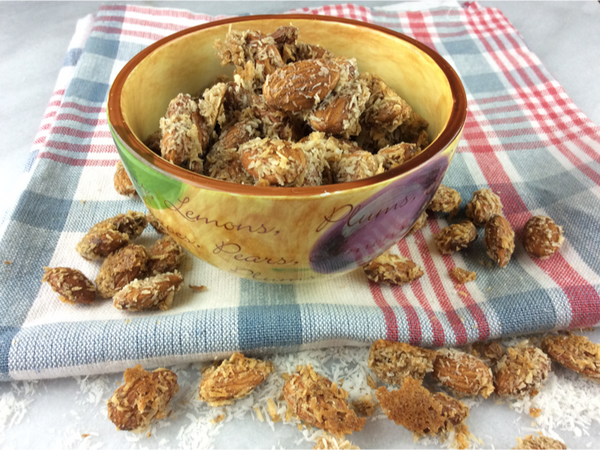 Coconut Crunch Roasted Almonds -a delicious healthy crunchy snack with a nice hint of ginger