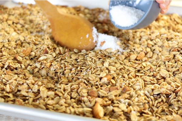 Coconut Maple Granola -a hint of almond crunch with the perfect coconut and maple combination | saltsole.com