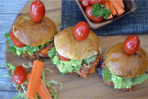 "Sloppy Quinoa joe Sliders -This recipe is a healthy play on those ""sloppy joes"" that we ate when we were kids.  Just throw everything in the slow cooker and forget about it.  Healthy and quick...want some - yes please!"