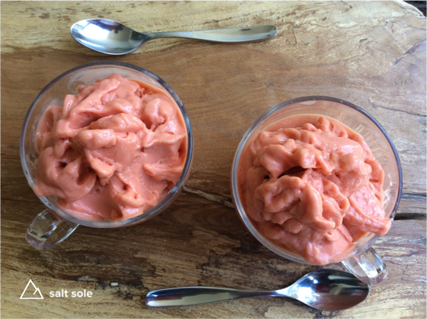 Strawberry Smoothie - This is a nice thick dairy free smoothie that we eat with a spoon, we tell ourselves its ice cream, but we think it tastes even better