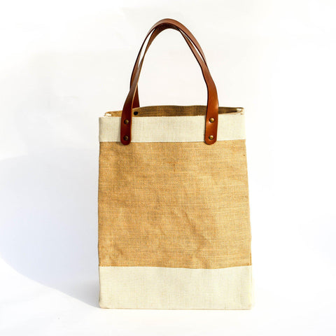 Natural Burlap Market Bag