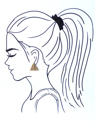 Earrings||Small Brass Bar Posts||Triangle