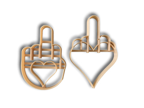 Heart Middle Finger Cookie Cutter Set of 2
