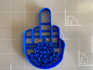 Go Away Virus Middle Finger Cookie Cutter