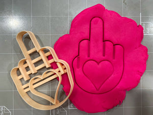 Middle Finger with Heart Imprint Cookie Cutter