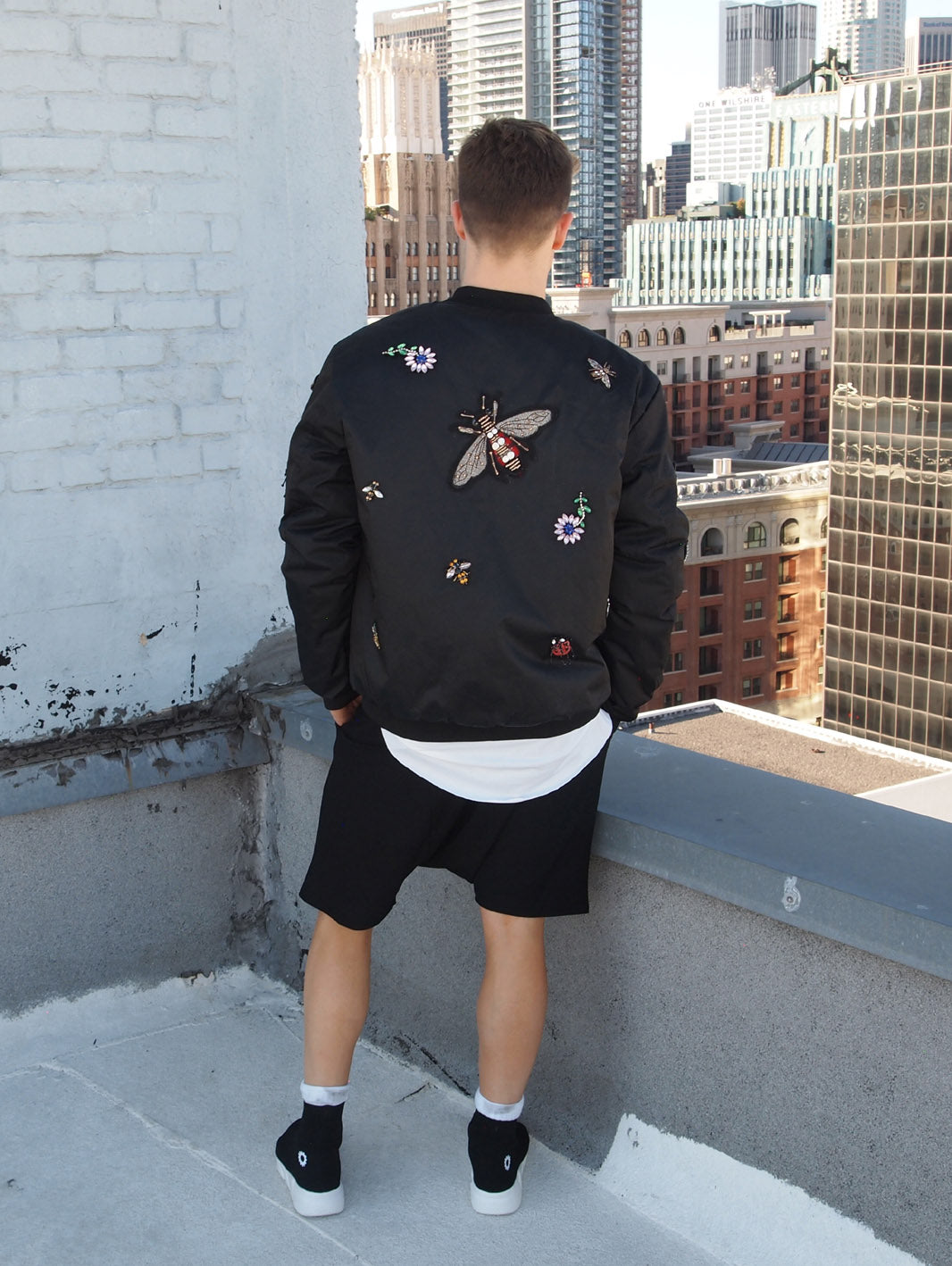 Beaded Patch Bomber Jacket