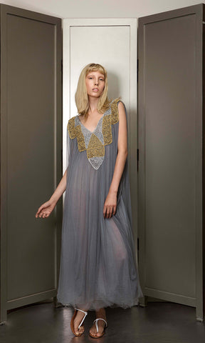 Dress silk tuille with handknitted gold and silver metallic yarn lace