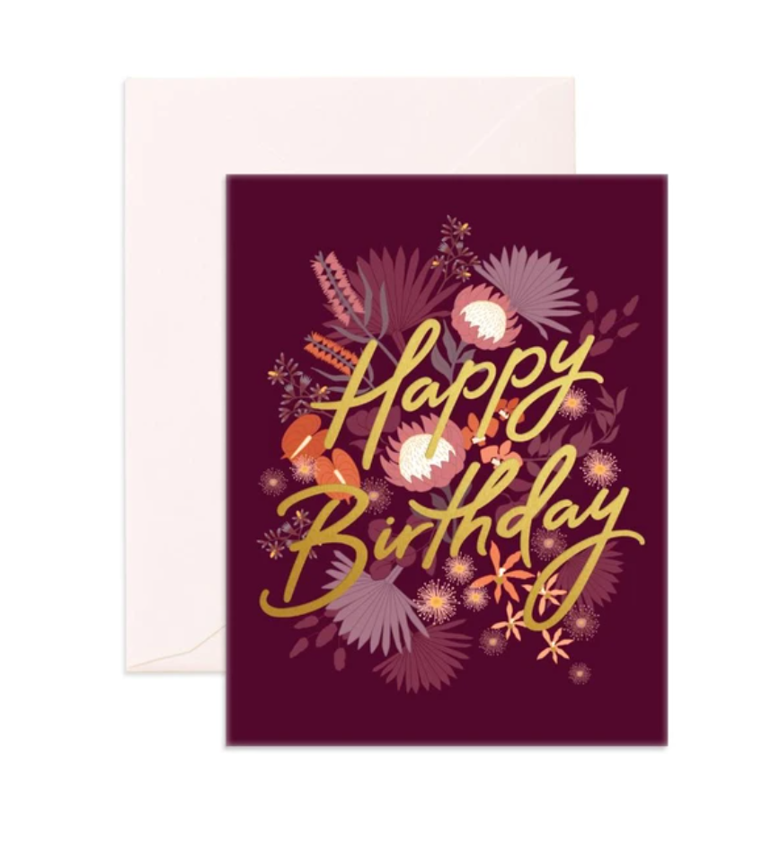 Happy Birthday Purple Greeting Card