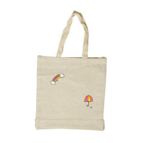 Raindrops + Umbrella Tote Bag