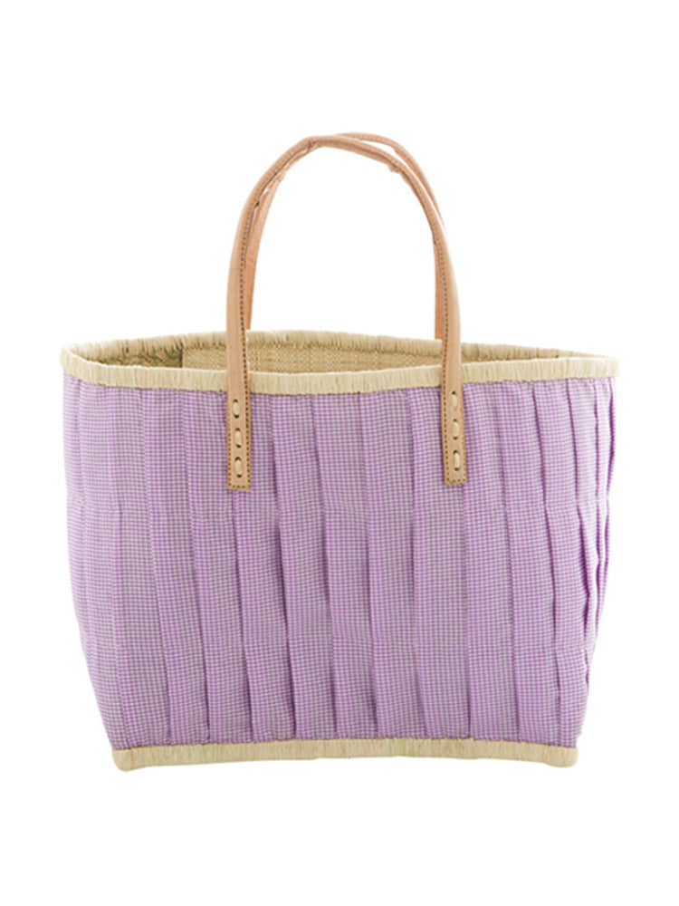Medium lavender fabric covered raffia bag
