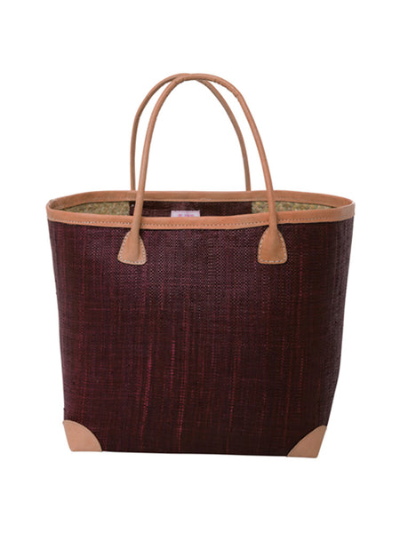 Medium raffia bag in Bordeaux