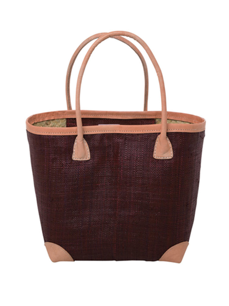 Large raffia bag in bordeaux
