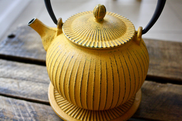 Yellow Cast Iron Teapot