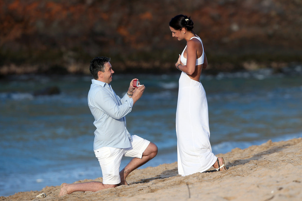 Zoltan Proposes to Rella at Ironwoods Bay Beach in Kapalua, Maui