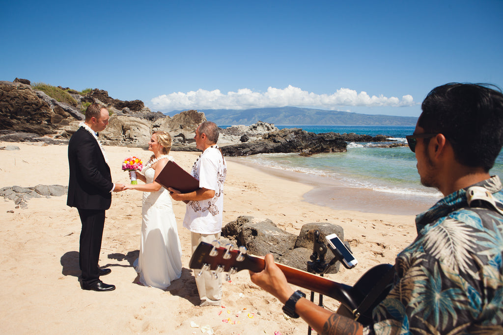 Bride and Groom marry at Ironwoods Bay, Maui, Hawaii