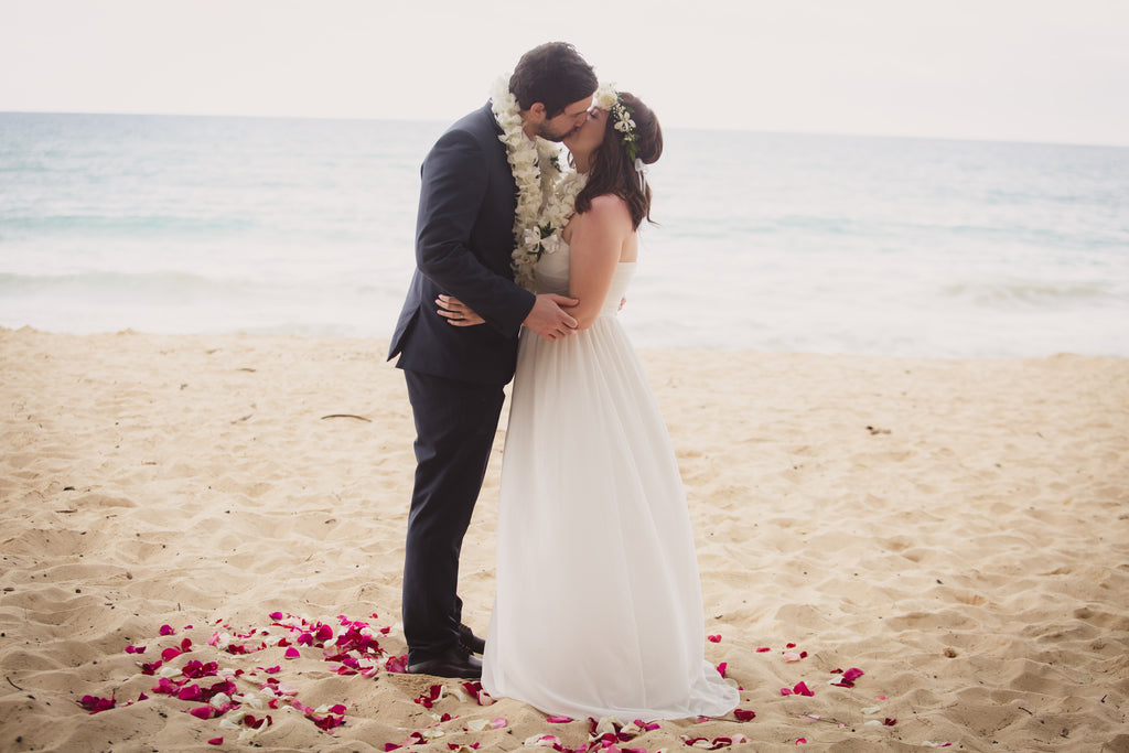 You may kiss the Bride. Waimanalo Bay Beach Wedding