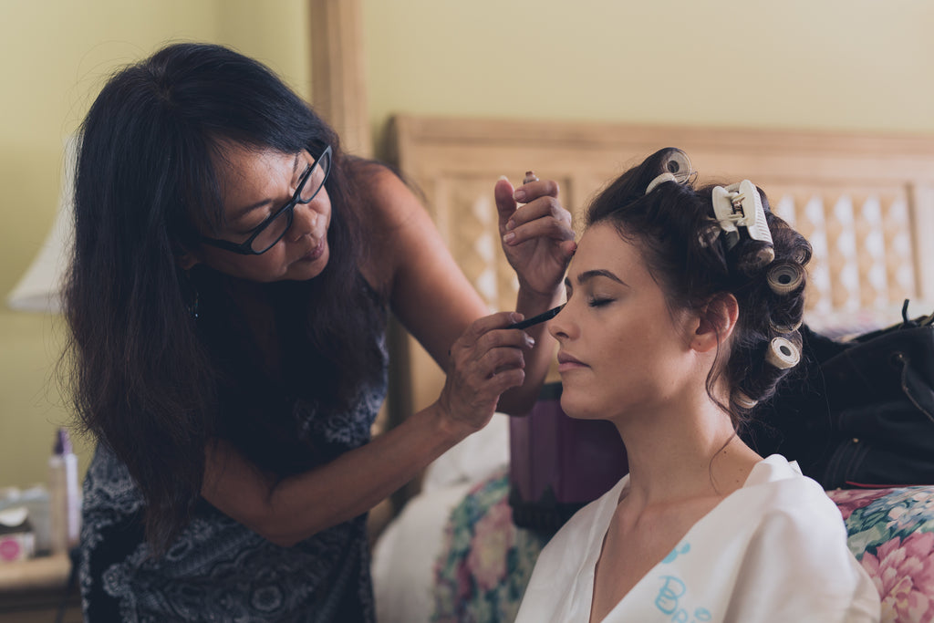 Hair and Makeup Artist and Bride