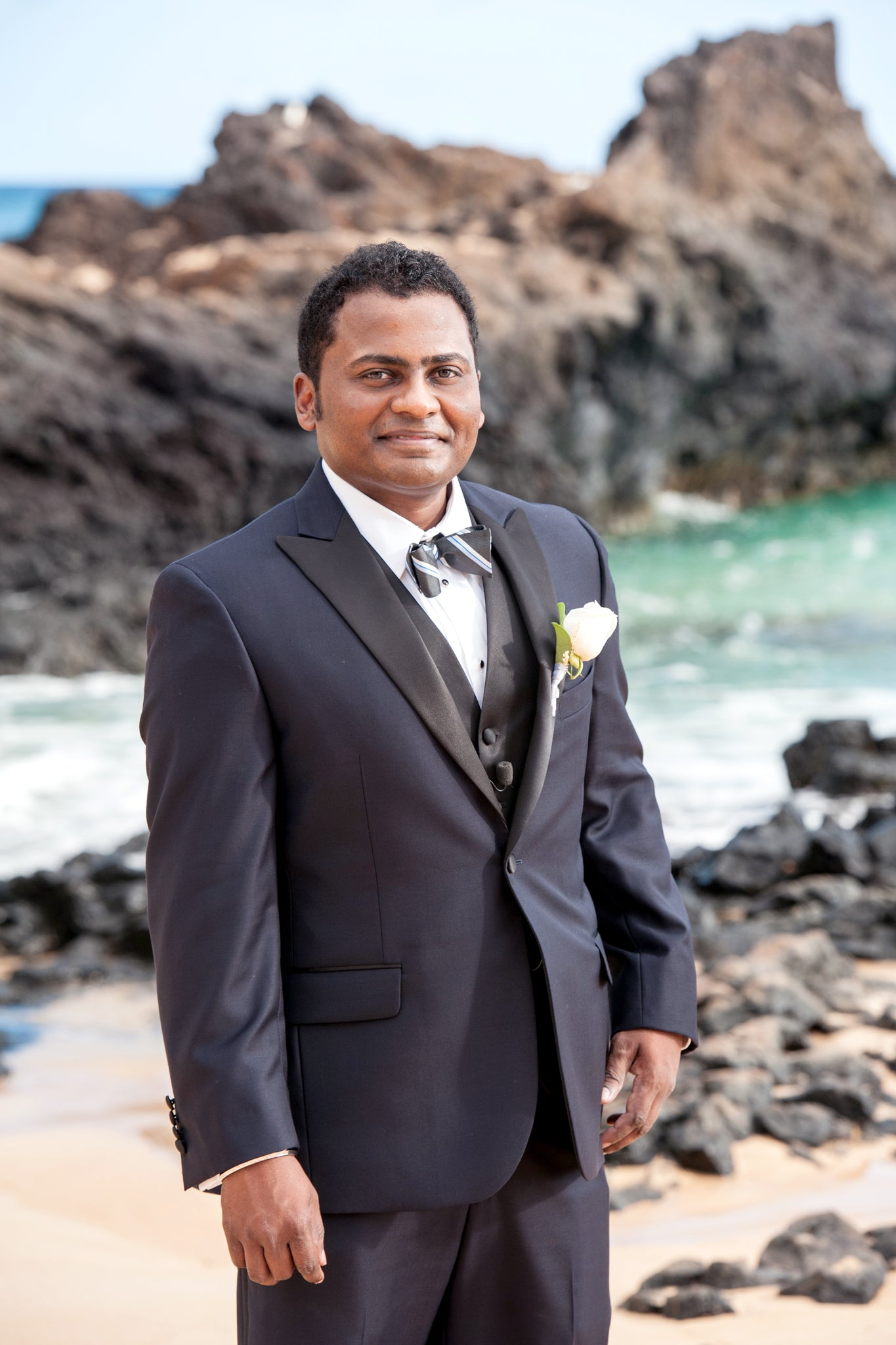 The Groom waits for his Bride on the Beach in Maui, Hawaii