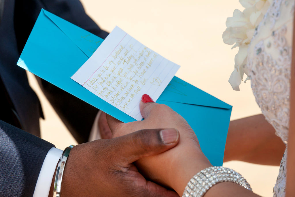 Bride reads her Vows during Wedding in Maui, Hawaii