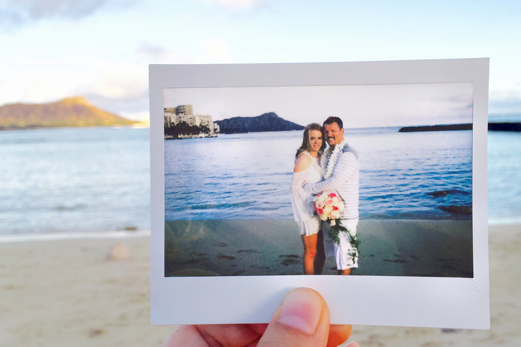 Polaroid Moments of Bride and Groom in Hawaii