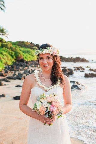 Brides Hawaiian Haku Head Lei (Popular) | Hawaii Beach Weddings & Elopements | Married with Aloha, LLC