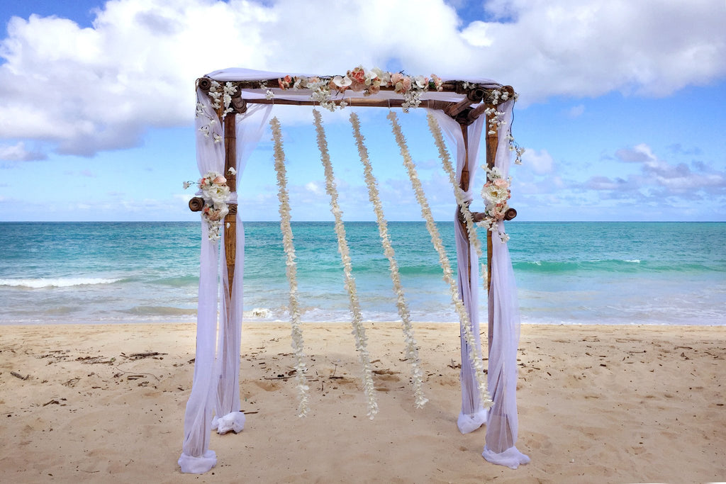 Hawaii Wedding Bamboo Ceremony Arch and Chairs Setup! – Married with ...