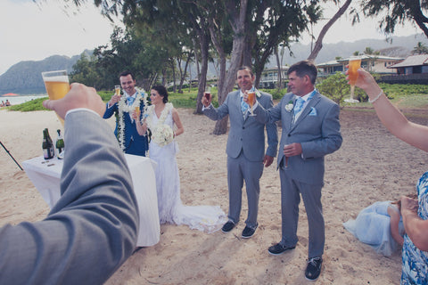 Cider Toast For Guests | Hawaii Beach Weddings & Elopements | Married with Aloha, LLC