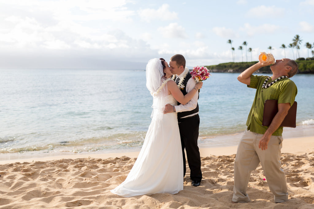 Conch Shell Blower | Hawaii Beach Weddings & Elopements | Married with Aloha, LLC