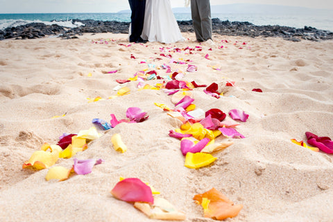 Scattered Rose Petals , Flowers & Lei's - Hawaii Weddings, Married with Aloha, Hawaii - 2
