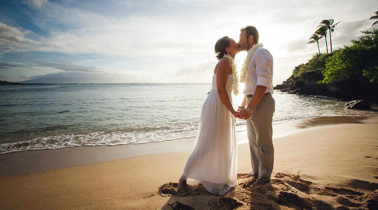 Bride and Groom romance on a Beach in Maui
