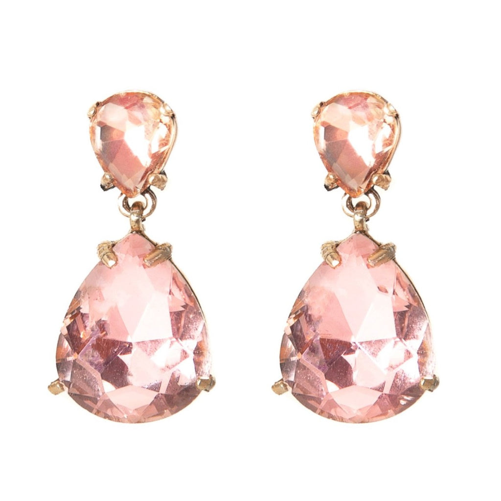 Crystal Teardrop Statement Earrings - Blush - Blush & Co. Rose Gold Jewellery Australia