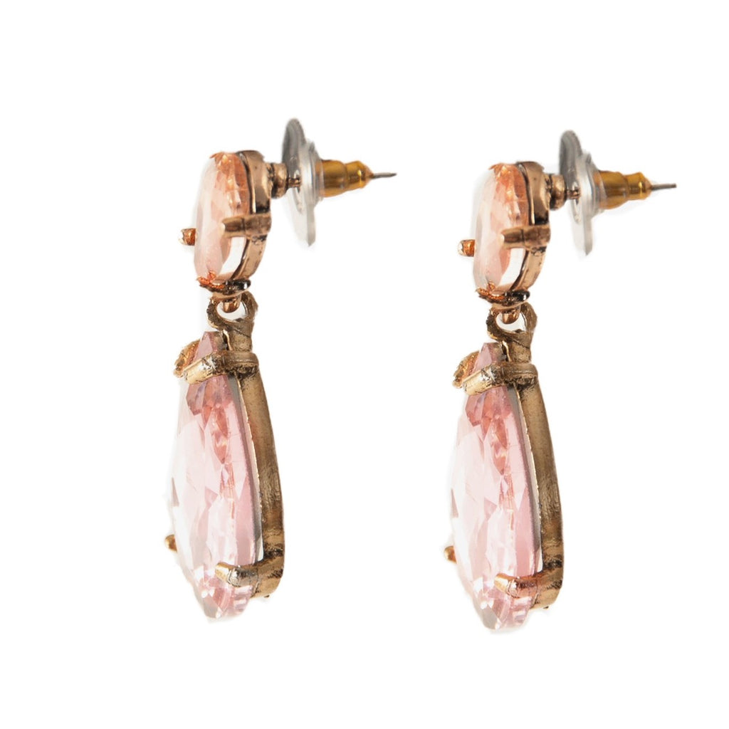 Crystal Teardrop Statement Earrings - Blush - Blush & Co.