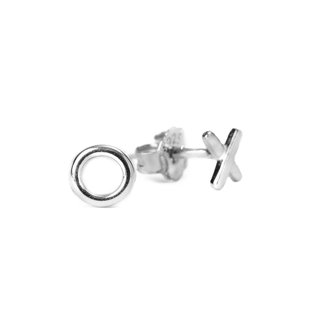 X & O Silver Stud Earrings - Blush & Co. Rose Gold Jewellery Australia