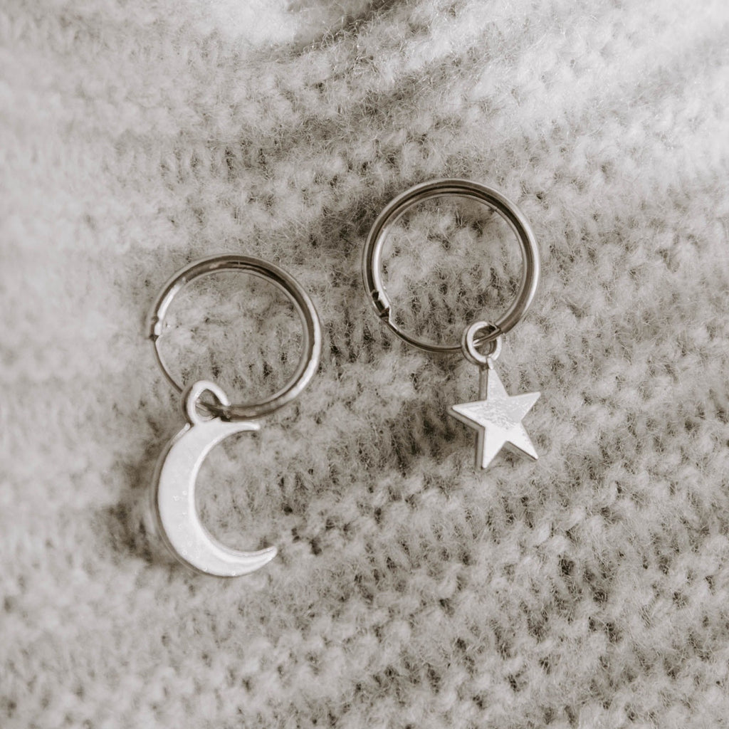 Spirit Charm Hoop Earrings - Silver - Blush & Co. Rose Gold Jewellery Australia
