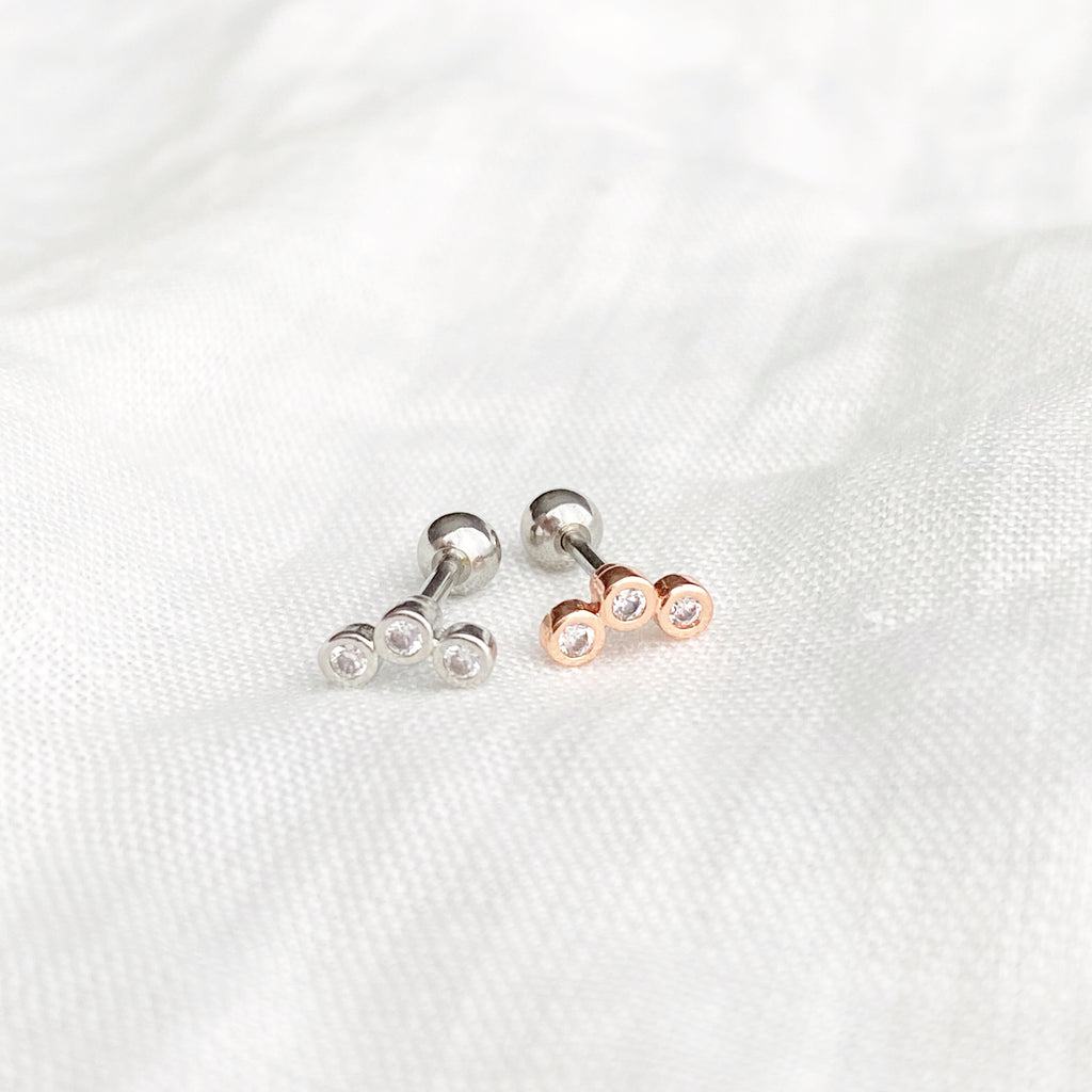 Trinity Zirconia Barbell Stud Earring - Silver - Blush & Co. Rose Gold Jewellery Australia