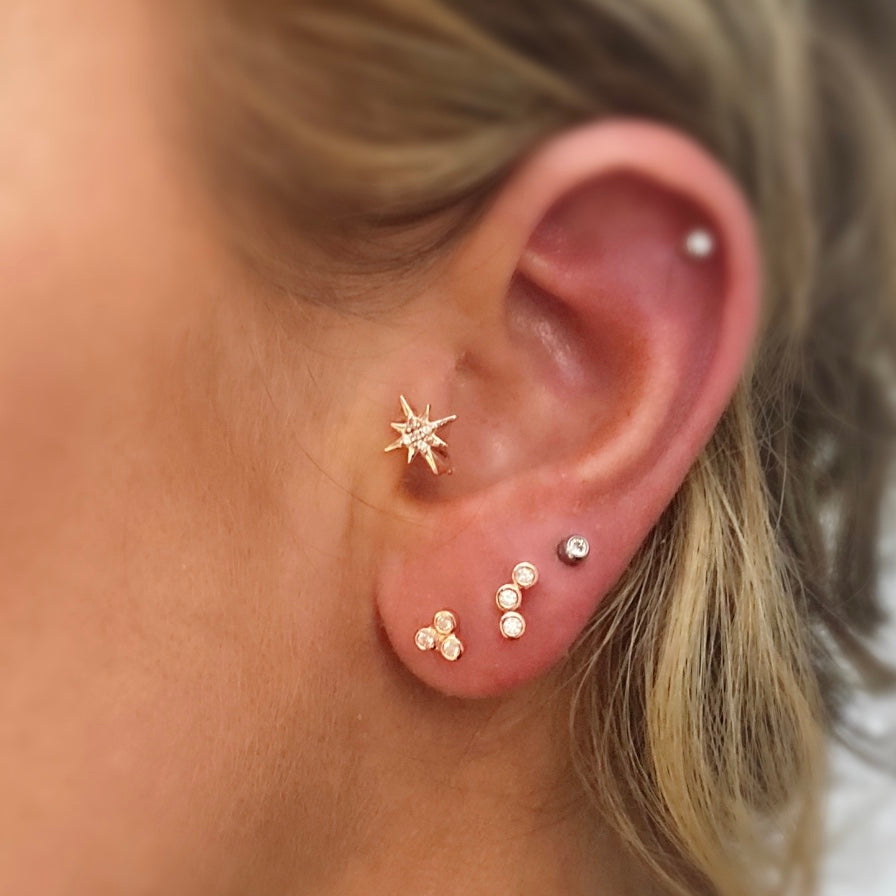 Trinity Triangle Barbell Stud Earring - Rose Gold - Blush & Co. Rose Gold Jewellery Australia