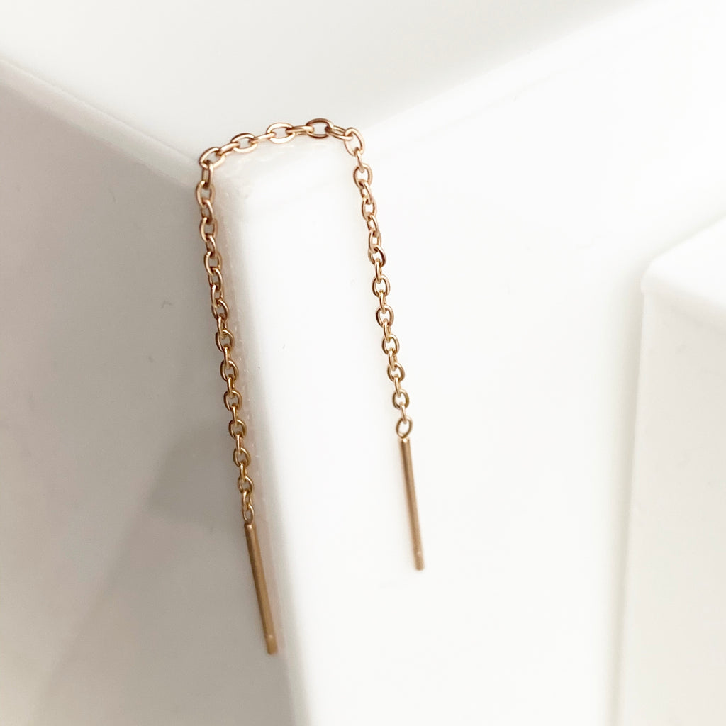Threaded Drop Earrings- Rose Gold - Blush & Co.