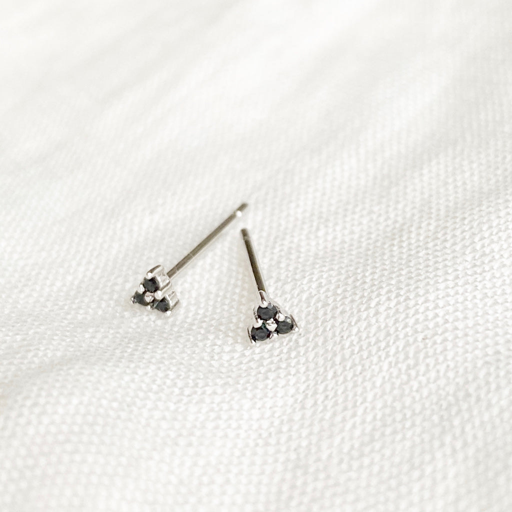 Mini Black Zirconia Triangle Stud Earrings - Silver - Blush & Co. Rose Gold Jewellery Australia