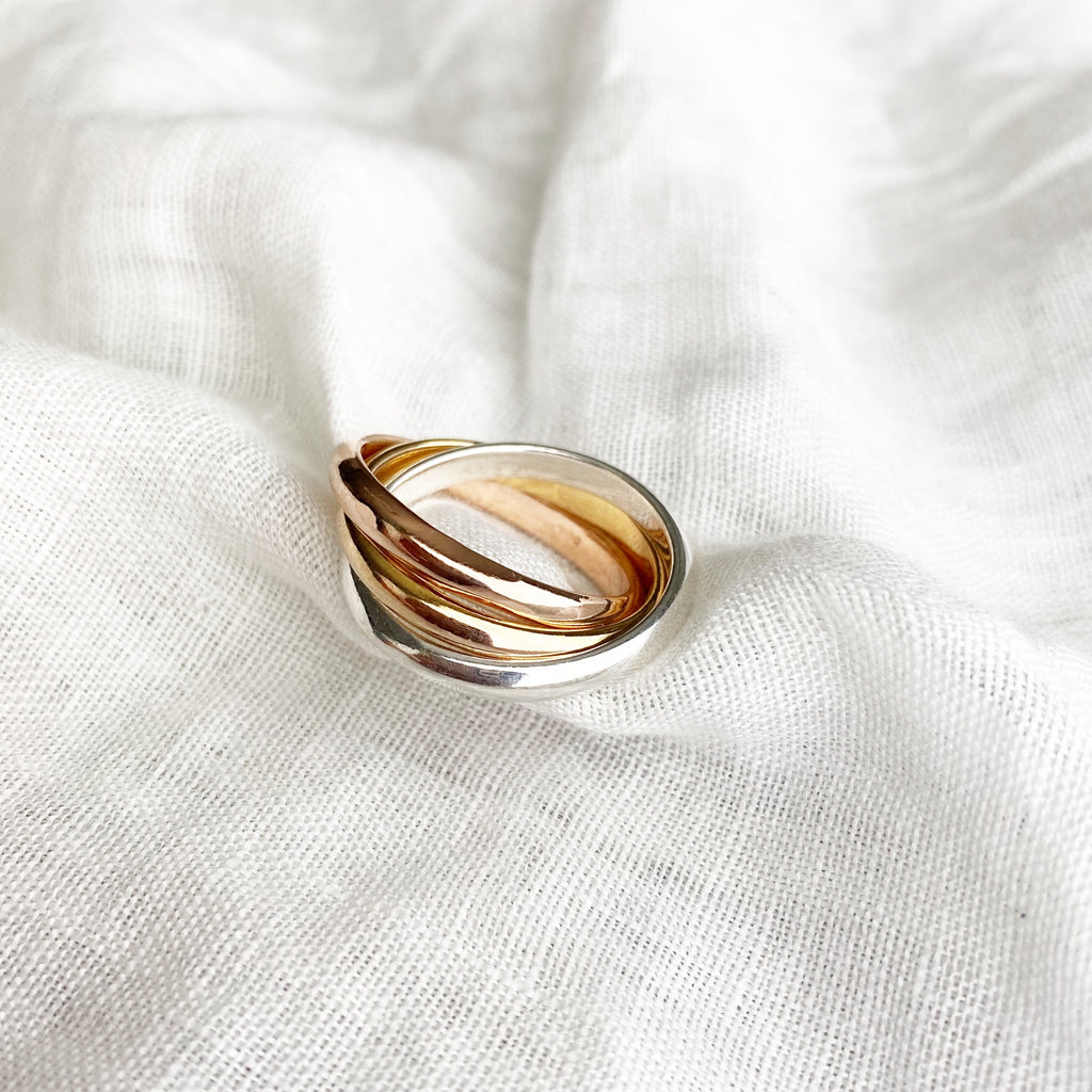 Tri-Tone Band Ring - Blush & Co. Rose Gold Jewellery Australia