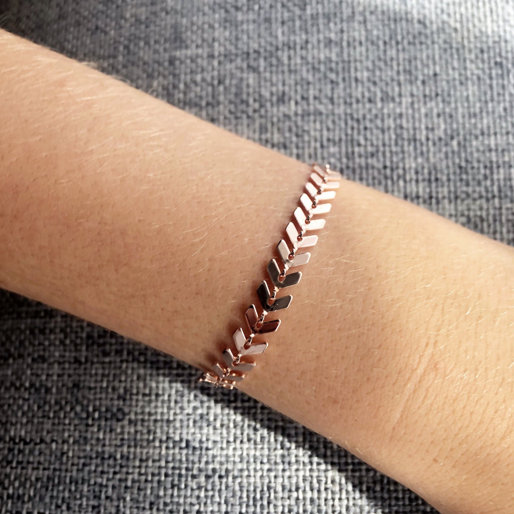 Chevron Rose Gold Bracelet - Blush & Co. Rose Gold Jewellery Australia