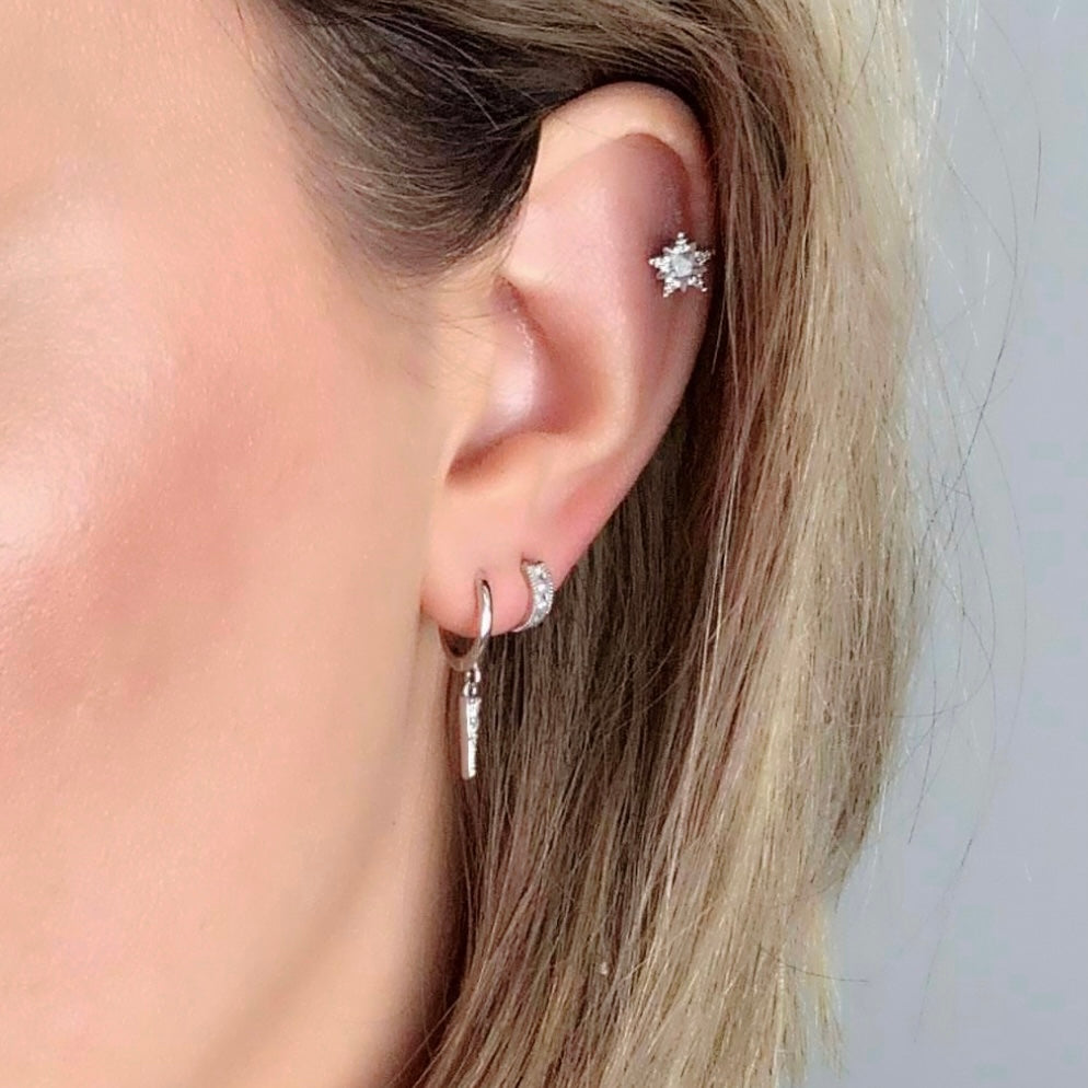 Tiny Star Crystal Barbell Earring - Silver - Blush & Co. Rose Gold Jewellery Australia