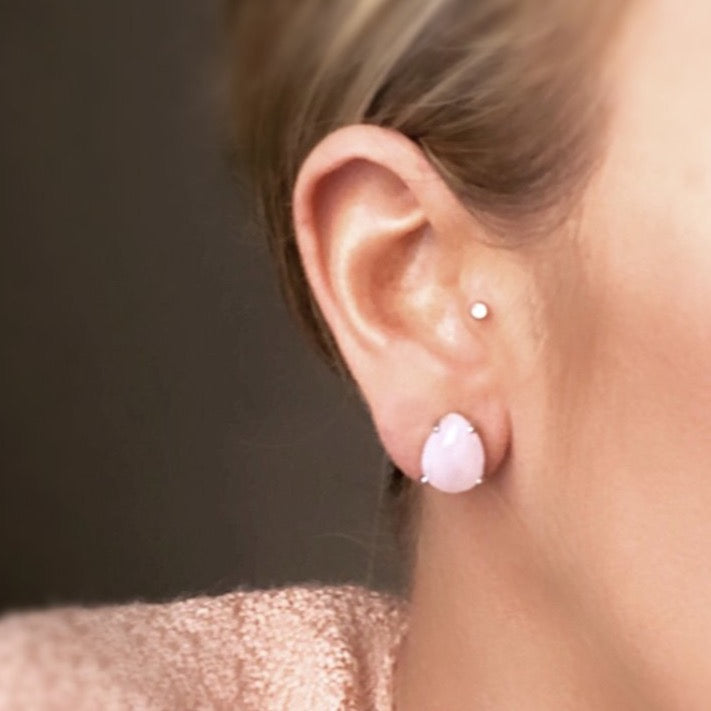Rose Quartz Stud Earrings - Blush & Co.