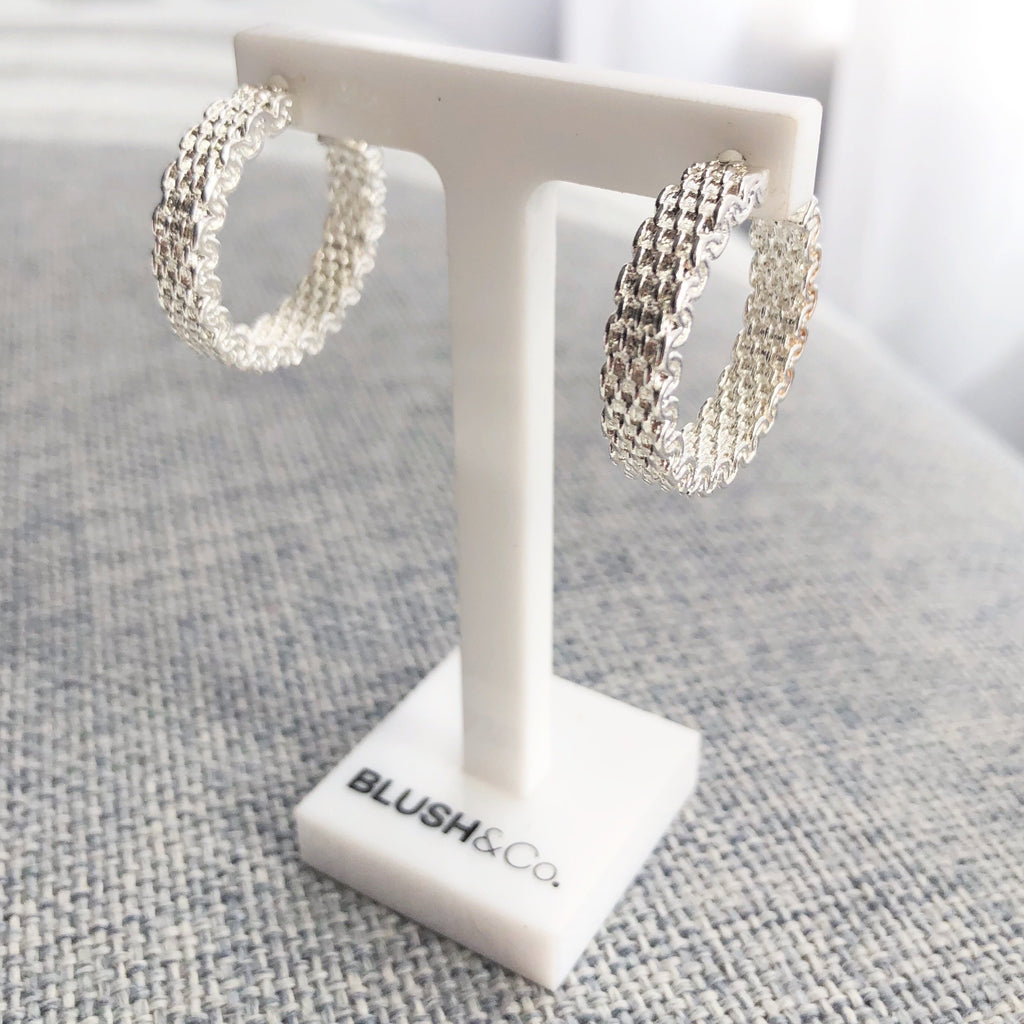Weave Hoop Earrings - Silver