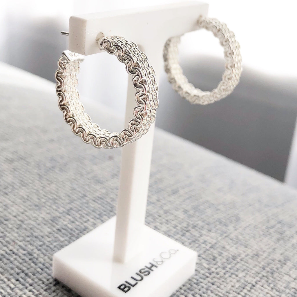 Weave Hoop Earrings - Silver - Blush & Co.