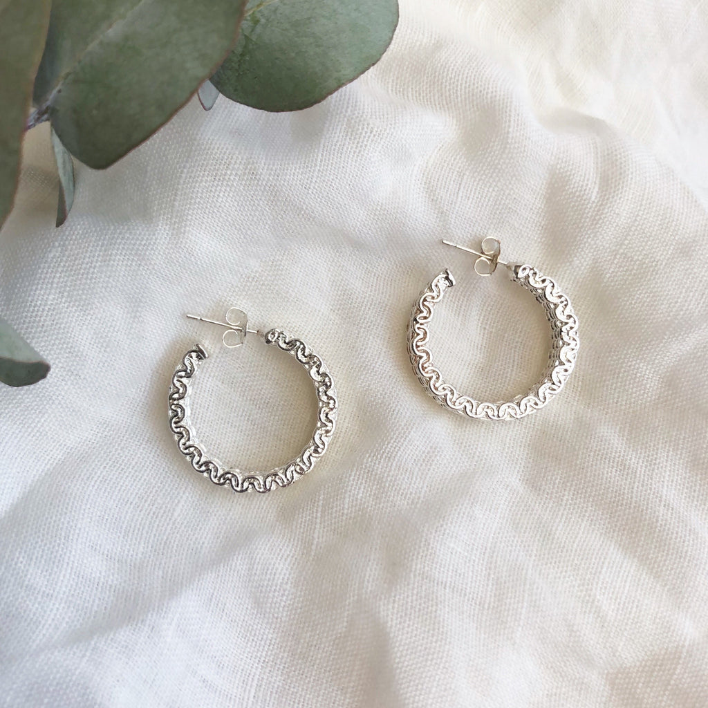 Weave Silver Hoop Earrings - Blush & Co.