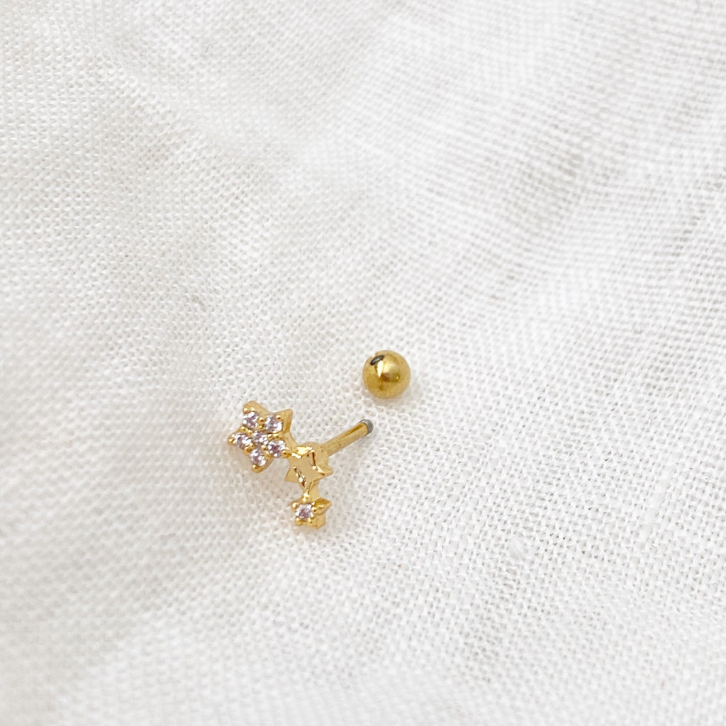 Galaxy of Stars Barbell Earring - Gold - Blush & Co.