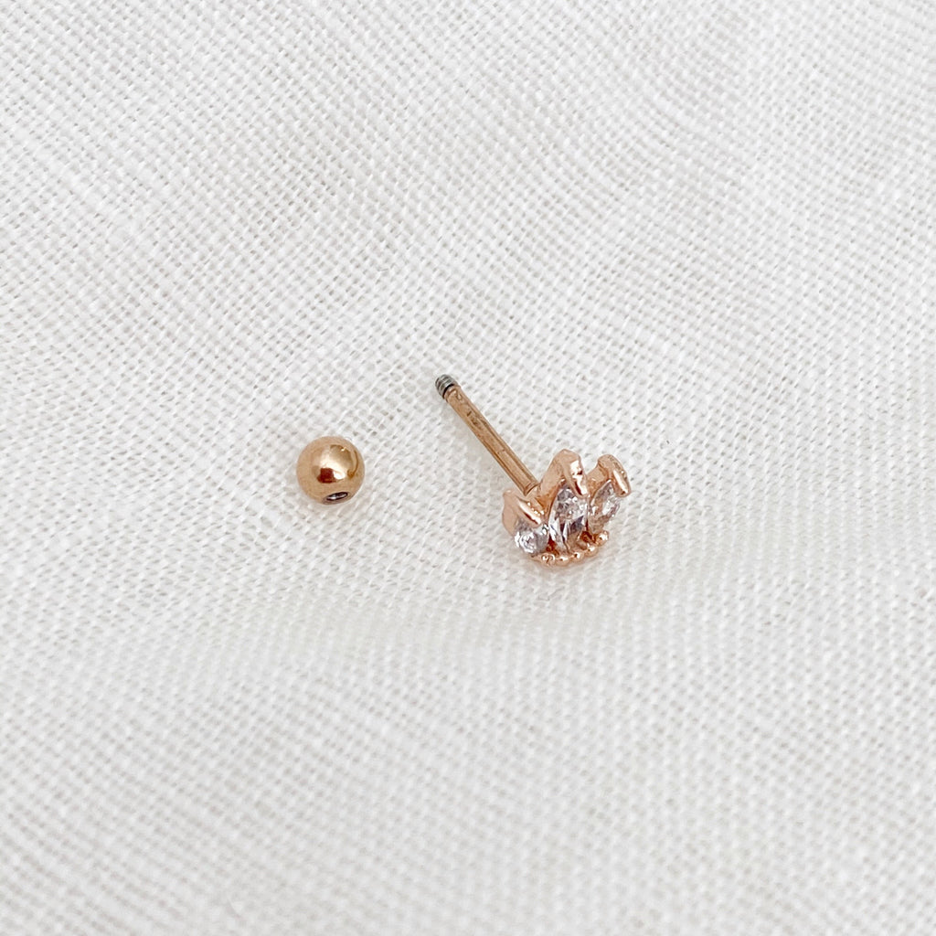 Crown Crystal Barbell Earring - Rose Gold - Blush & Co.