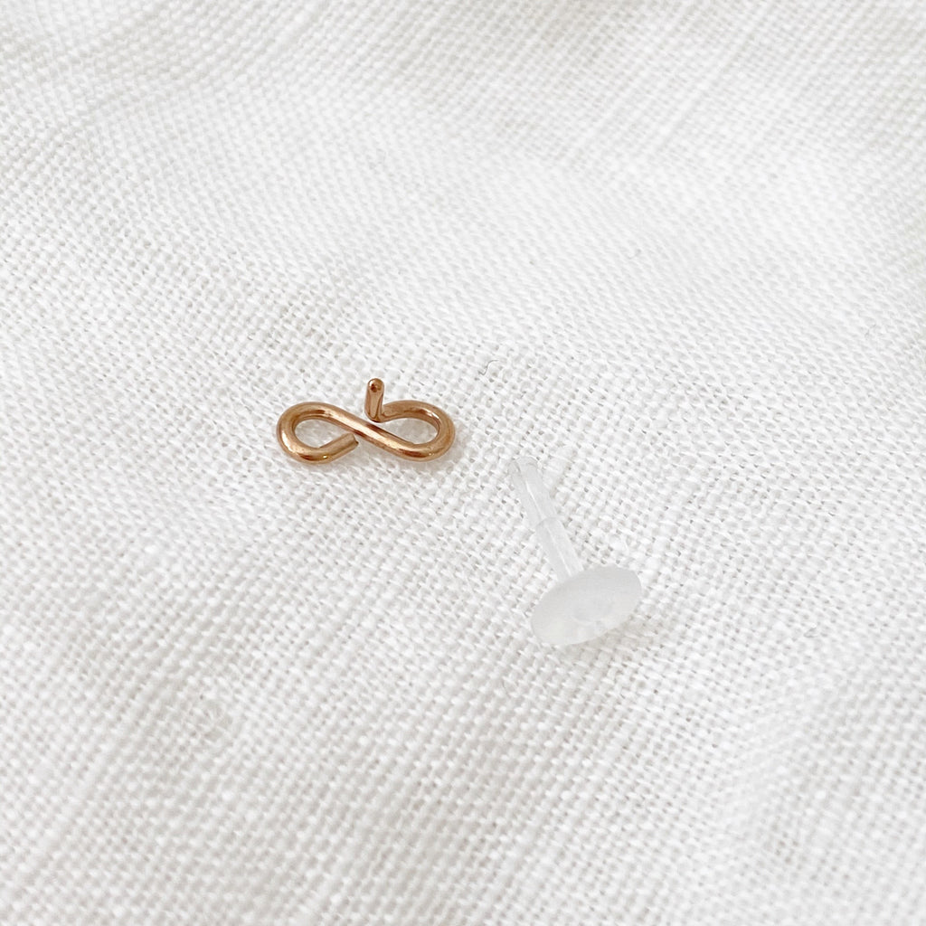 Infinity Acrylic Flat Back Earring - Rose Gold - Blush & Co.